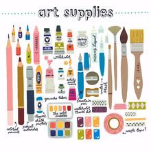 Set Of Art Supplies Clipart