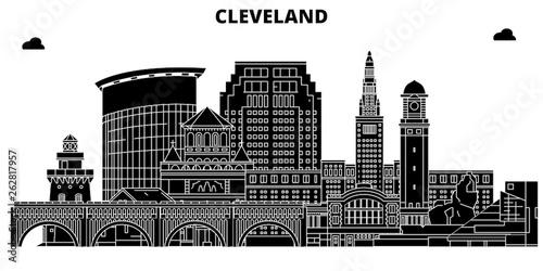 Fotografie, Obraz  Cleveland , United States, outline travel skyline vector illustration