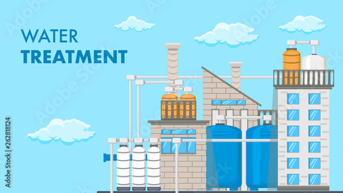 Fotomural Water Treatment System Vector Banner with Text