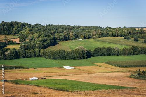 Fototapeta Landscape in Strysza Buda village in Kartuzy County, Kashubia Lakeland in Pomeranian Voivodeship, Poland obraz na płótnie