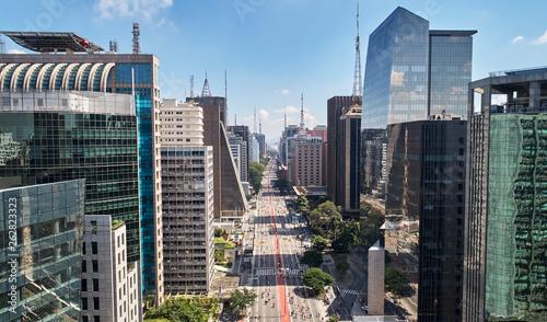 La pose en embrasure Brésil Avenida Paulista (Paulista avenue), Sao Paulo city, Brazil
