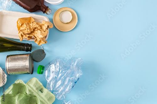 Obraz na plátně  Environmental conservation concept - rubbish prepared for recycling, cardboard,