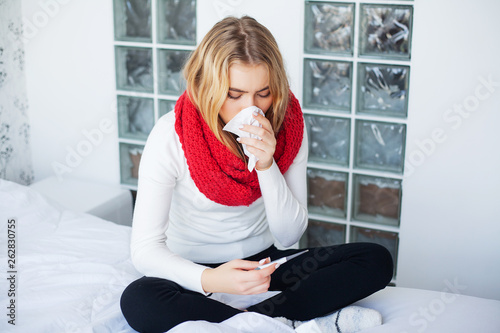 Fotografie, Obraz  Flu. Woman Suffering From Cold Lying In Bed
