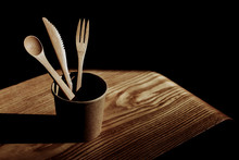 From Above Wooden Spoon, Fork ...