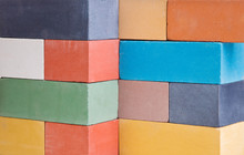A Set Of The Multi-colored Ceramic Bricks Made In A Wall