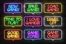 Vector Set Of Realistic Isolated Neon Sign Of Game Logo For Template Decoration And Mockup Covering On The Wall Background. Concept Of Gaming.