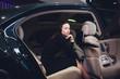 Passenger Successful Businesswoman Positive Talking Camera Inside Private Car.