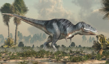 A Tyrannosaurus Rex Stands In A Prehistoric Wetland. The Most Popular Carnivorous Dinosaur, This Predator Lived During The Cretaceous Period. 3D Rendering.