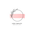 Circle with leaves and pink horizontal stroke logo template