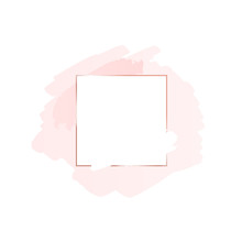 Abstract Pink Brush Background With Square Geometric Frame Rose Gold Color. Logo Background For Beauty And Fashion