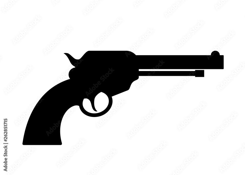 Fototapeta Gun revolver vector silhouette icon
