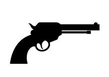 Gun Revolver Vector Silhouette...