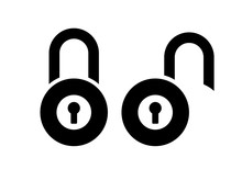 Open Closed Padlock Vector Sign
