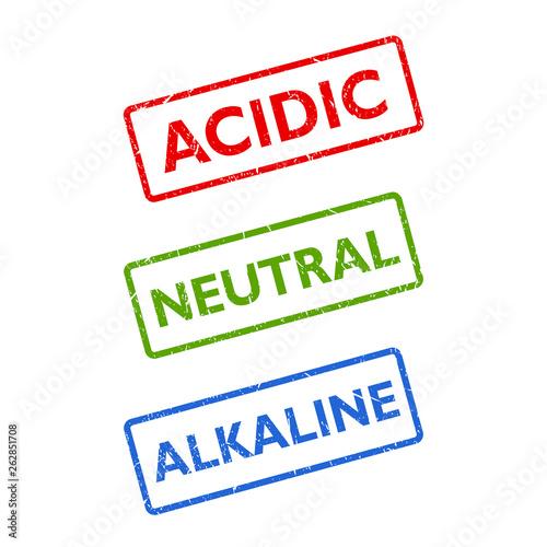 Photo Acidic neutral alkaline ph balance vector stamp