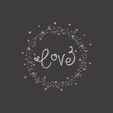 Hand Drawn Love Card with hearts frame - 262854132