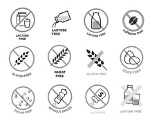Lactose Free, Gluten, Wheat, Sugar And Salt Free Icons. A Set Of Icons Ready To Use In Your Design. Vector Icons Can Be Used On Different Backgrounds. EPS10.