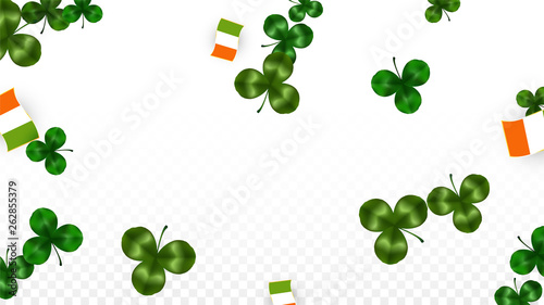 Foto  Vector Clover Leaf  and Ireland Flag Isolated on Transparent Background