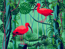 Scarlet Ibis Birds In The Thickets Of A Flowering Rainforest.