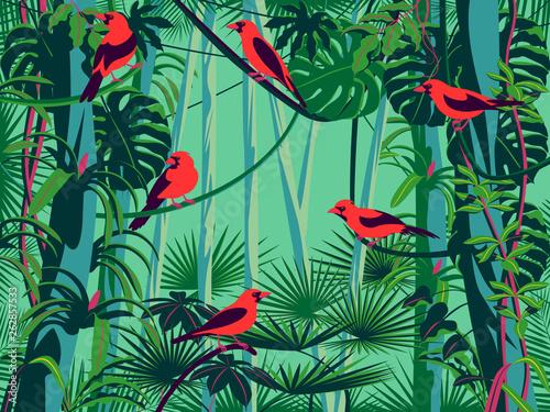 Ptaki Scarlet Tanagers w zaroślach kwitnącego lasu deszczowego.
