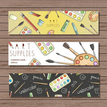 Bright Colored Stationery, Writing Materials, Office, School Or Art Supplies Bookmarks. Art Shop Advertisement, Banner, Leaflet. Doodle Style Illustration Of Pencil, Paint, Brush, Palette, Watercolor