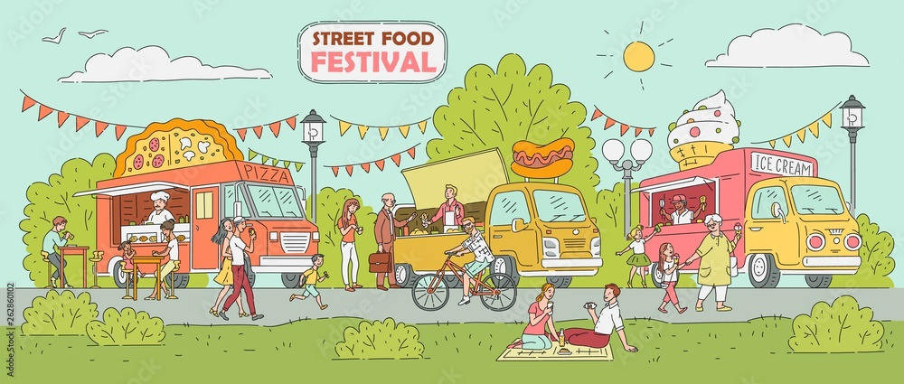 Fototapeta Street food festival - ice cream truck, pizza vendor car, hot dog stand