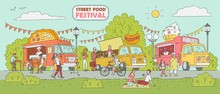 Street Food Festival - Ice Cream Truck, Pizza Vendor Car, Hot Dog Stand
