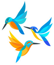 Stylized Birds In Flight - Kin...