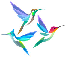 Stylized Birds - Hummingbirds ...