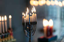 Hanukkah: Variety Of Holiday Menorahs With Lit Candles