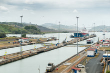 Panama Canal Ship Entering Miraflores Locks