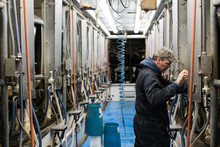 Dairy Farm Testing Machinery In Milking Area