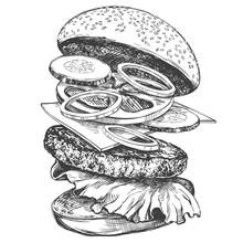 Big Burger, Hamburger Hand Drawn Vector Illustration Realistic Sketch