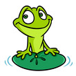 Green frog smile water lily leaf animal character cartoon illustration