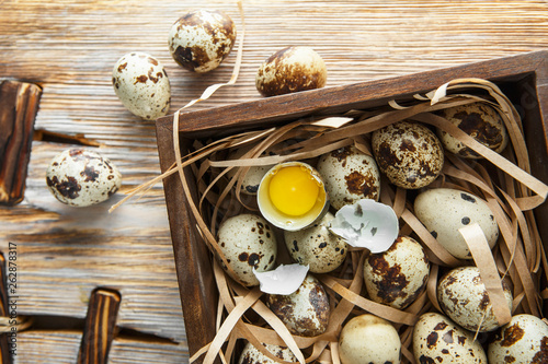Quail Eggs Flat Lay Composition With Small Quail Eggs In The Wooden