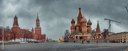 Fototapeta Red square - St Basil Cathedral and Kremlin  at winter evening