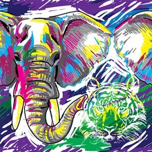 Stylish Background With Animals. Seamless Pattern. Elephant, Tiger,.Figure Markers. Pop Art. Bright Print, Colored Spots. Freehand Drawing.