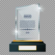 Glass Trophy Plaque Award. Glossy Transparent Prize. Vector Illustration.