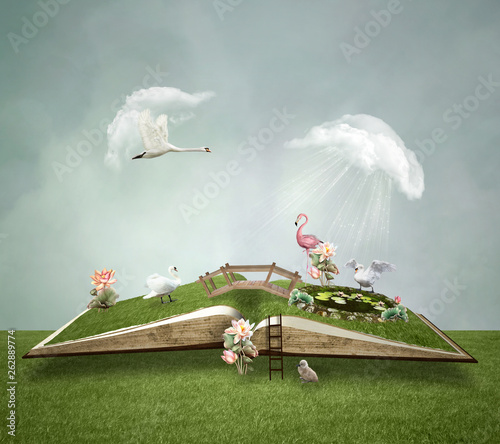 Αφίσα Open book with little green world inside – 3D illustration