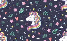 Seamless Vector Pattern. Unicorn With Rainbow Mane And Doodle Style Elements For Textile, Print Or Web Design.