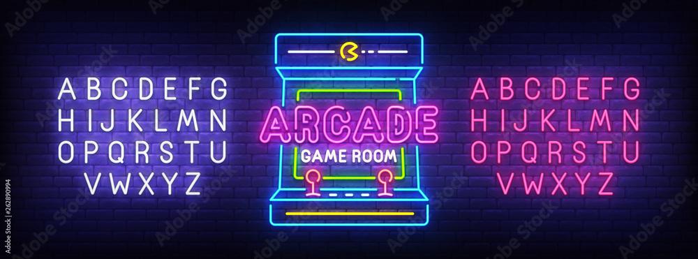 Fototapeta Arcade Games neon sign, bright signboard, light banner. Game logo, emblem and label. Neon sign creator. Neon text edit
