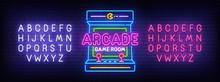 Arcade Games Neon Sign, Bright...
