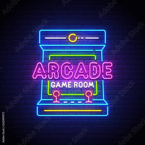 Arcade Games neon sign, bri...
