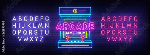 Canvas Arcade Games neon sign, bright signboard, light banner