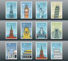 World Landmarks Collection. Travel And Tourism. Vector