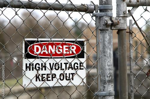 Photo A danger sign warning of high voltage