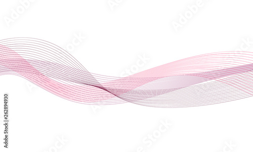 Fototapeta Abstract colorfull wave element for design. Digital frequency track equalizer. Stylized line art background.Vector illustration.Wave with lines created using blend tool.Curved wavy line, smooth stripe obraz na płótnie
