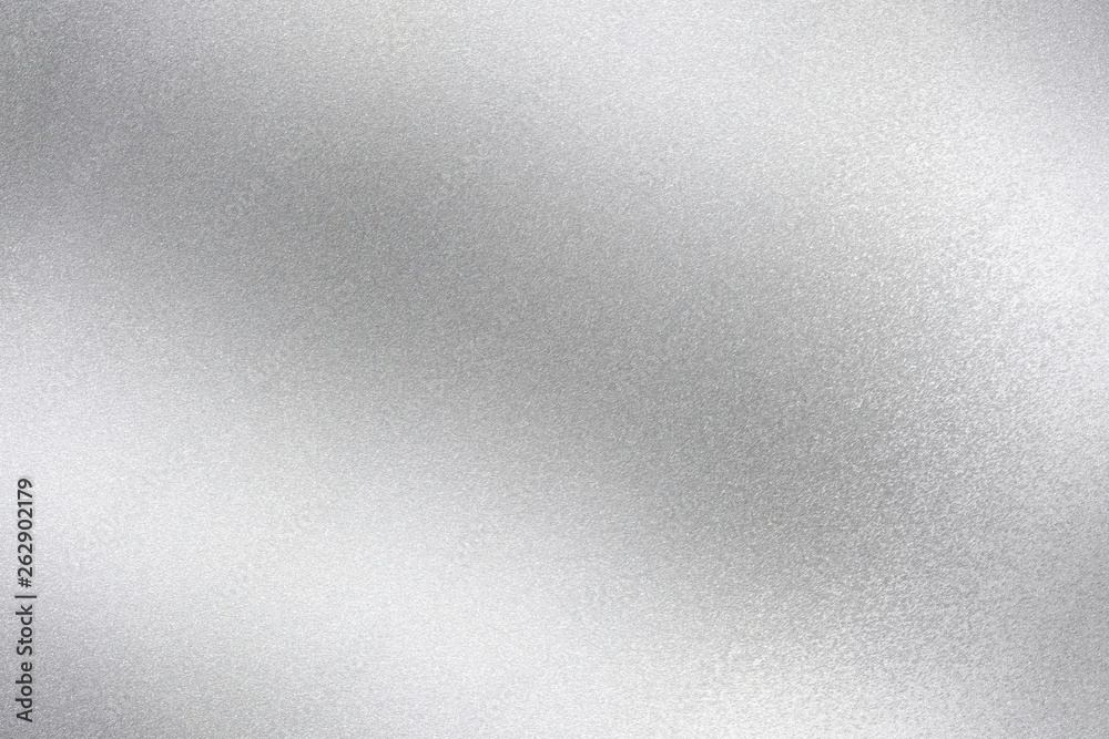 Fototapeta Shiny silver foil wave metal , abstract texture background
