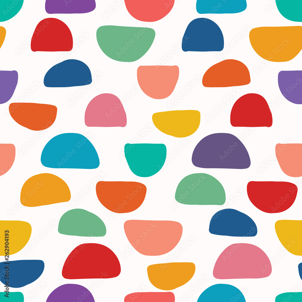 Fototapeta Abstract organic cut out shapes. Vector pattern seamless background. Hand paper cutting matisse style. Collage graphic illustration. Trendy home decor, kid fashion print, wallpaper. Fun half circles