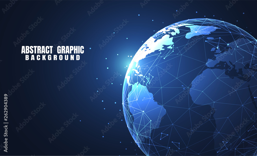 Fototapeta Global network connection. World map point and line composition concept of global business. Vector Illustration