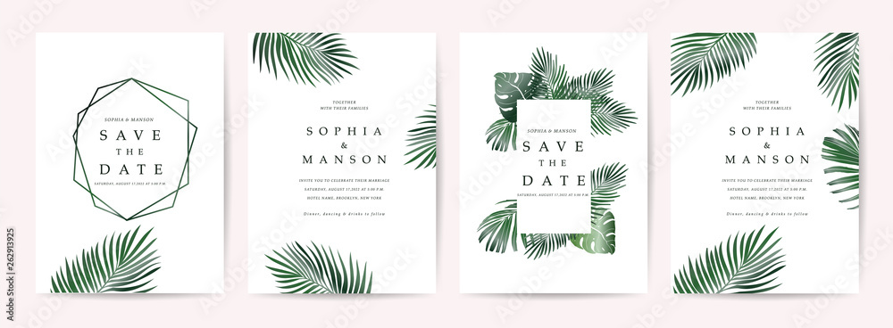 Fototapety, obrazy: Wedding invitation,Thank You Card, rsvp, posters design collection with marble texture background,Geometric Shape,Gold and Tropical Leaves design - Vector